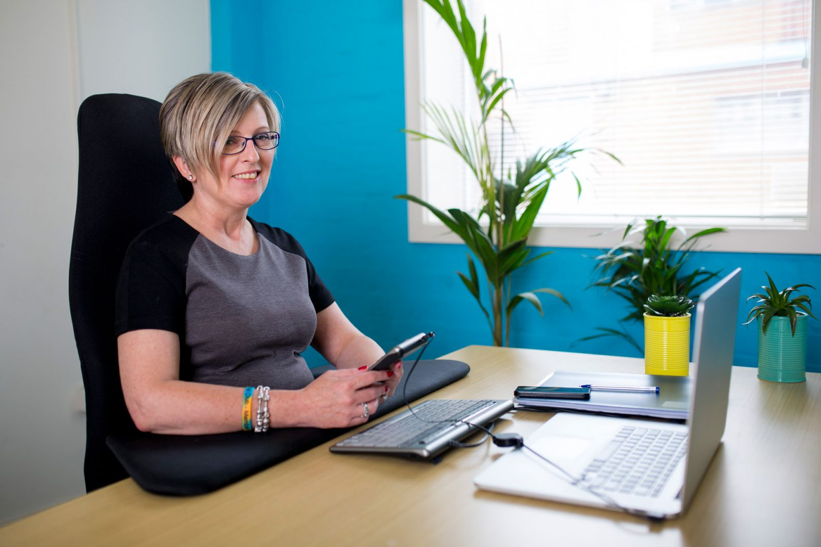 Woman using assistive technology
