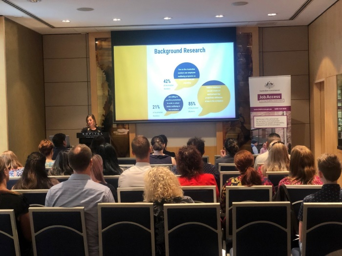 Christelle Chardin, Talent & Culture Manager at Sofitel Sydney Wentworth speaking at the Managing Mental Health at Work workshop.