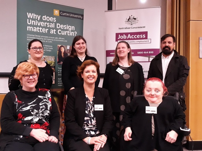 Image (clockwise L to R from back row): Emma Dalton, Jacinta Reynolds, Meredith Grose, Daniel Valiente-Riedl, Prue Hawkins, Erica Schurmann and Samantha Jenkinson at the 20th JobAccess Employer Seminar co-hosted by Curtin University in Perth