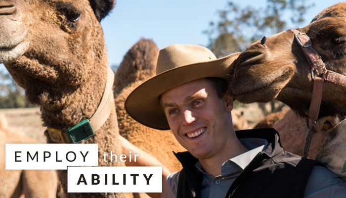 Max Bergmann with his camels at their camel farm in Morangup, Western Australia (Source: Drome Dairy)