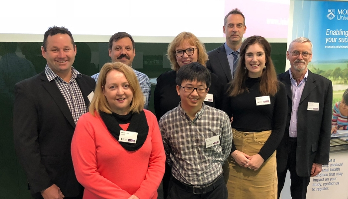 Photo (clockwise): Don Elgin, Daniel Valiente-Riedl, Jennie Huxley, Marcus Pettinato, Matthew Salas, Katherine Allman, Jonathan Lee and Deborah Fairbairn at the JobAccess Employer Seminar at Monash University